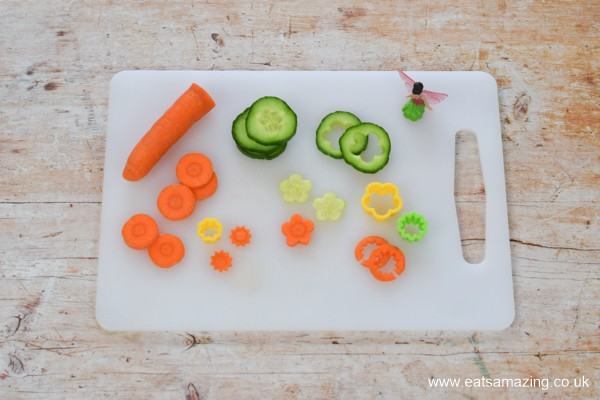 How to make a cute garden themed mini side salad for kids - step 1 cut out vegetable flowers