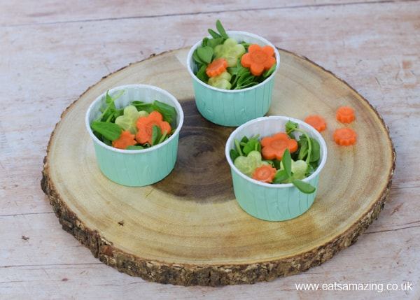 How to make a cute garden themed mini side salad for kids - step 3 top with vegetable flowers