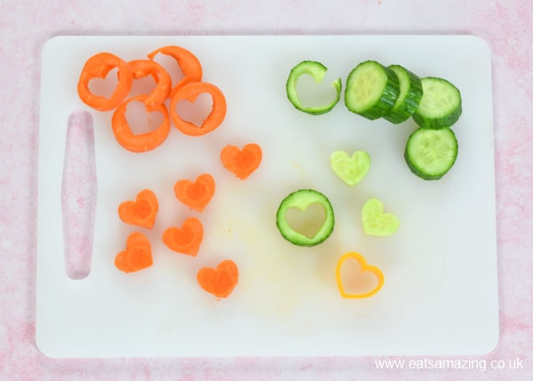 How to make carrot and cucumber hearts for a fun Valentines lunch for kids