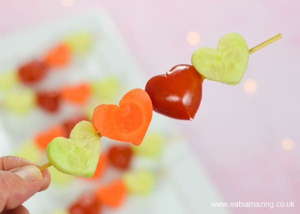 How to make cute and easy heart vegetable skewers for kids - fun and healthy Valentines snack or party food idea