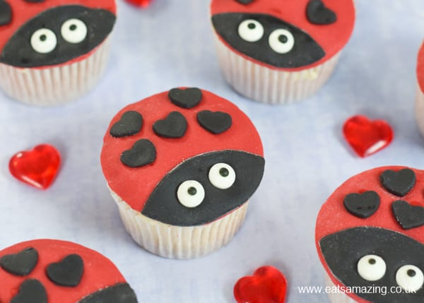 How to make fun and easy ladybird cupcakes - perfect for ladybug party food or Valetines Day baking with kids