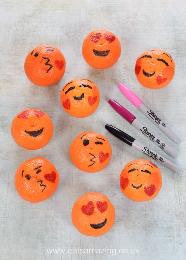 How to make love emoji oranges -cute fun and healthy Valentines food for kids