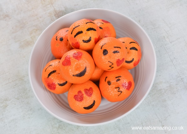 How to make love emoji oranges for Valentines Day - easy fun food tutorial for kids