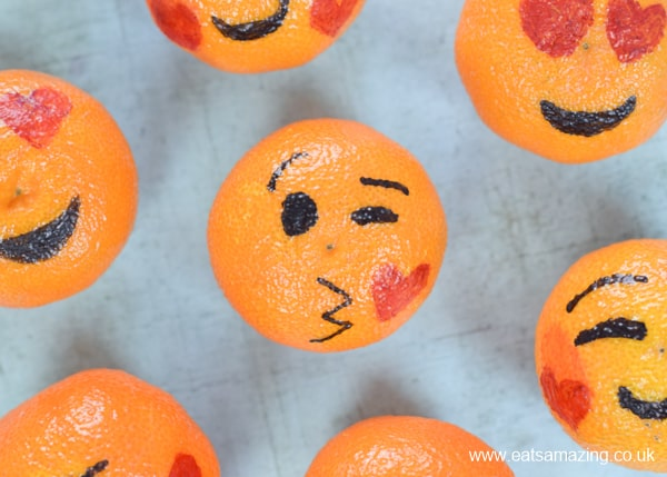 How to make love emoji oranges - fun and healthy Valentines food for kids - blowing kiss emoji