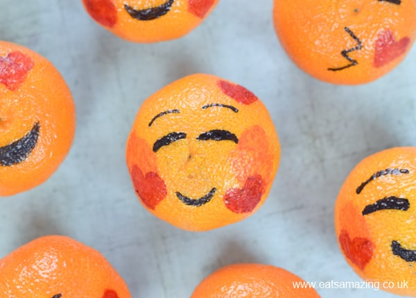 How to make love emoji oranges - fun and healthy Valentines food for kids - blushing in love emoji