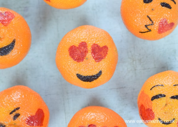 How to make love emoji oranges - fun and healthy Valentines food for kids - heart eyes emoji