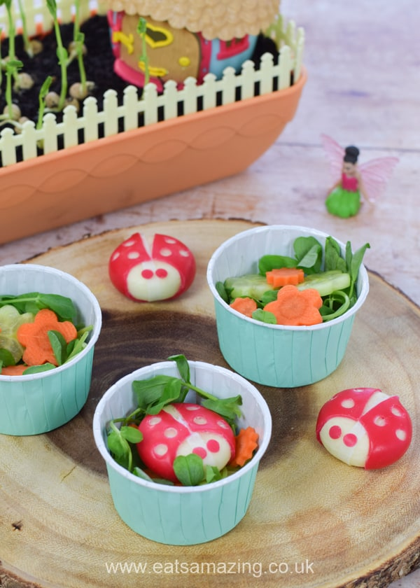 How to make mini garden themed salads for kids - fun party food idea for a garden or fairy themed party