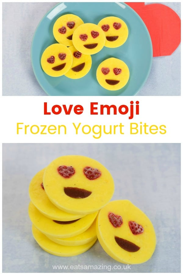 Love emoji frozen yogurt bites recipe - easy fun food idea kids can make for a fun snack or healthy dessert #EatsAmazing #kidsfood #funfood #foodart #frozenyogurt #cookingwithkids #kidsinthekitchen #emoji #valentinesday #easyrecipe