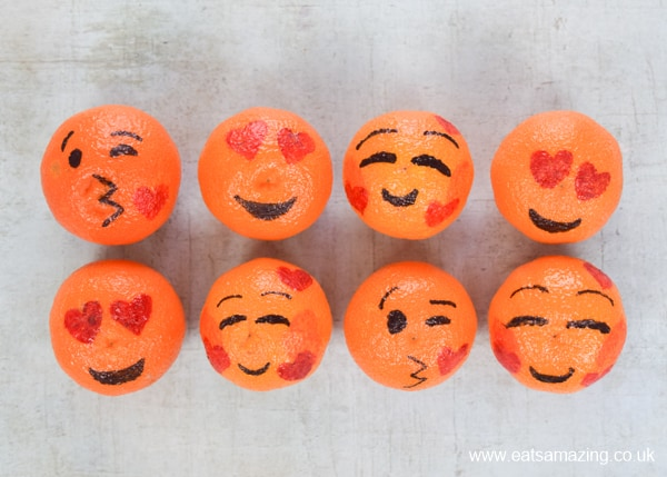 Love emoji oranges fun food tutorial - healthy Valentines Day food for kids