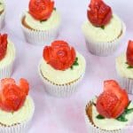Pretty strawberry rose cupcakes with real strawberry decorations - cute and easy Valentines Day cakes for kids
