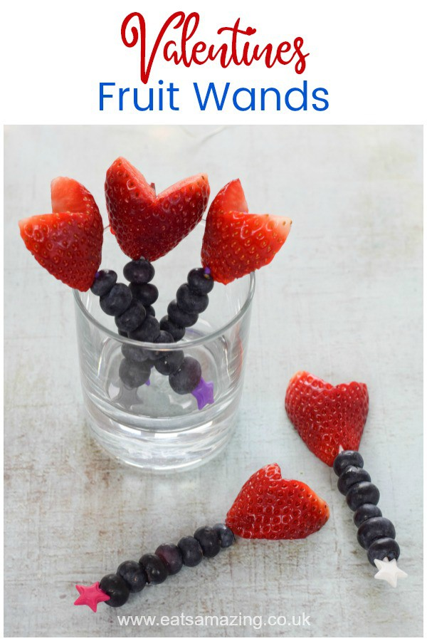 Quick and easy Valentines fruit wands with heart strawberries - fun healthy Valentines Day food for kids #EatsAmazing #ValentinesDay #valentinesdayfood #kidsfood #healthykids #easyrecipe #fruitsalad #snackideas #partyfood #funfood