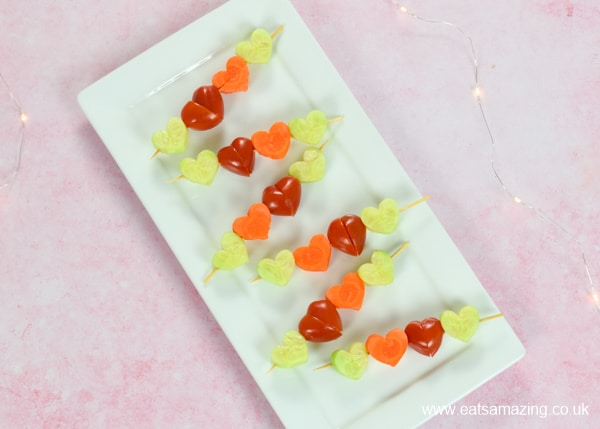 Quick and easy heart vegetable kebabs for kids - a fun way to serve up salad vegetables for party food or lunch box snacks