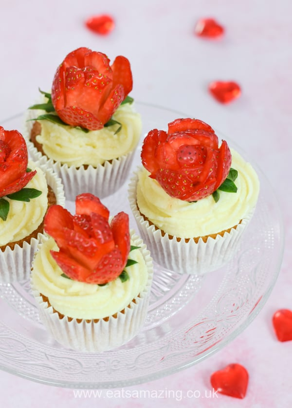 Strawberries and cream rose cupcakes recipe - fun cakes kids can make for Valentines Day or Mothers Day