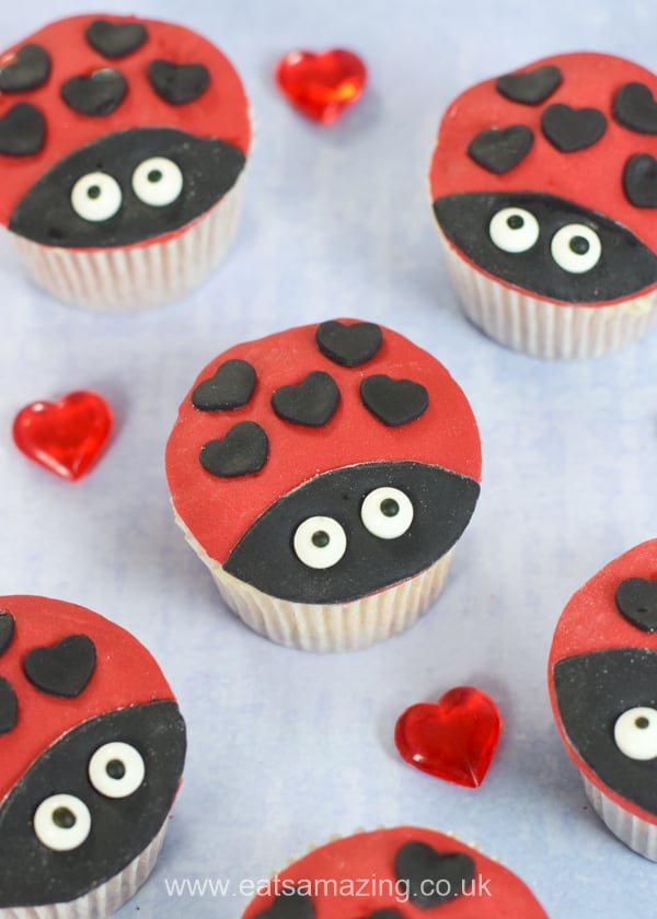 Super cute love bug cupcakes recipe for kids - these cute ladybug cupcakes have heart shaped dots for Valentines Day
