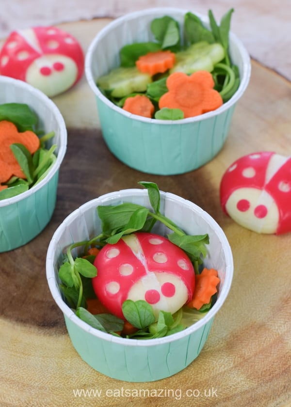 Super cute mini side salad for kids - garden themed salad recipe with veggie flowers and cheese ladybugs
