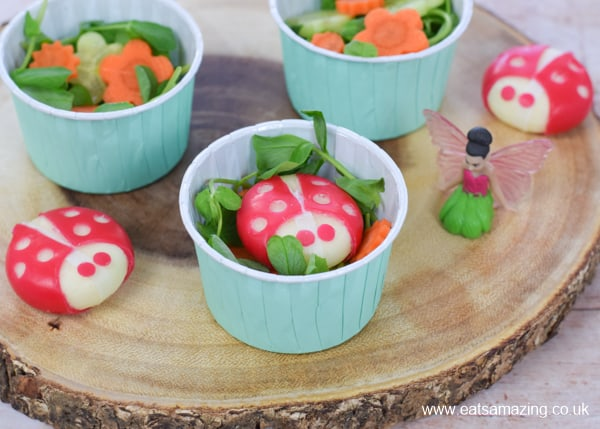 Super cute mini side salad for kids made with pea shoots grown in the My Fairy Kitchen Garden