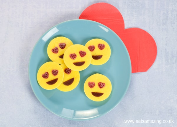 Super easy frozen yogurt edible love emoji bites recipe - fun snack or dessert for kids