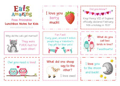 Valentines themed FREE Printable Lunchbox Notes for kids - head to the blog post to download and print your own set