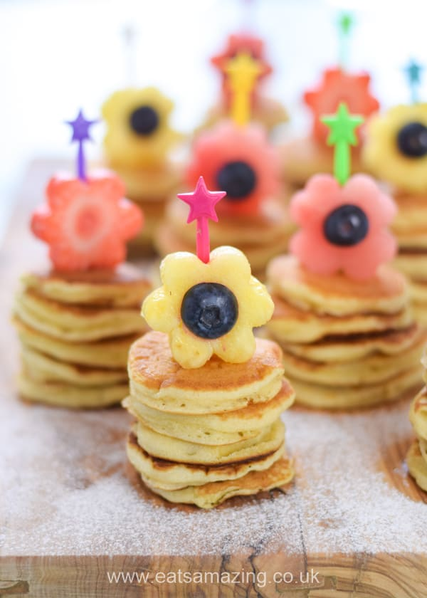 Cute Fruit Flower Mini Pancake Stacks recipe - this fun breakfast idea is perfect for Mothers Day or Easter with kids