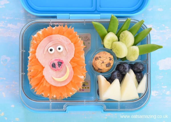 Cute Missing Link movie themed bento lunch with Mr Link sandwich - fun food art for kids