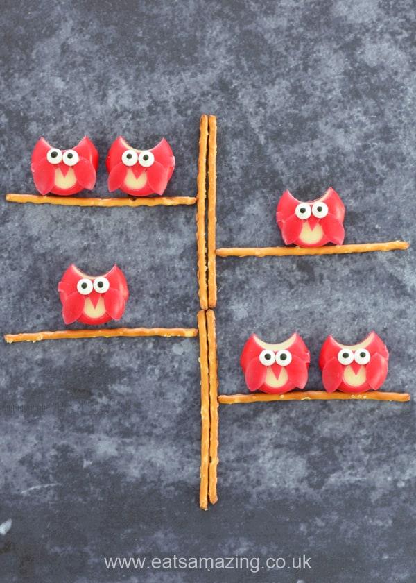 Cute and easy Babybel cheese owls - fun food idea for kids that makes great party food - with video tutorial