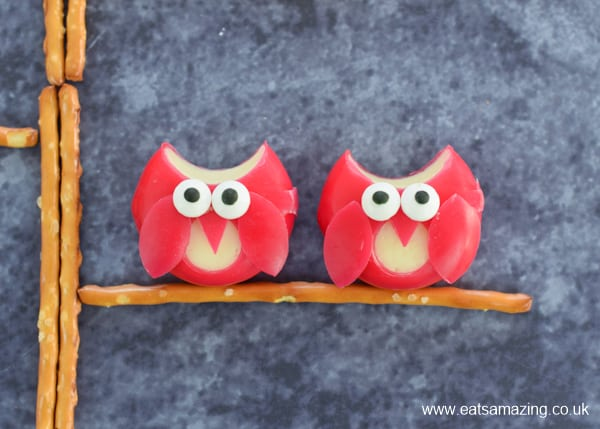 Cute and easy Babybel cheese owls - fun party food idea for kids