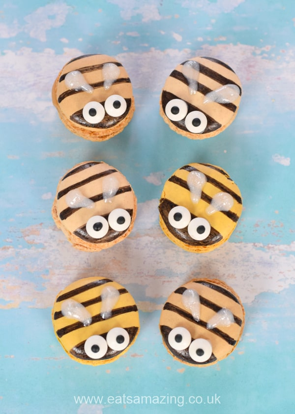 Cute and easy Bee Macarons fun food tutorial - great bug themed party food idea for kids