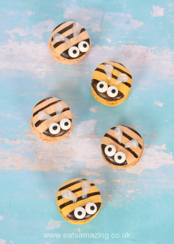 Cute and easy bee macarons - turn ready made macarons into bees with this fun party food idea for kids