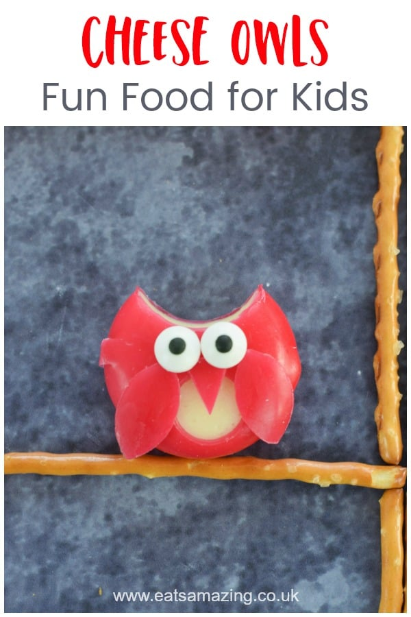 Cute and easy cheese owls fun food tutorial - party food idea for kids that is perfect for a Halloween Harry Potter or Gruffalo themed party #EatsAmazing #funfood #foodart #partyfood #kidsfood #owls #babybel #cutefood #healthykids #kidsparty #halloween #harrypotter