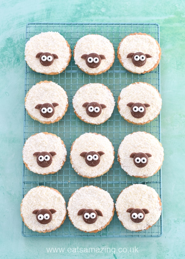 Cute and easy shortbread sheep cookies recipe for Easter - fun Easter food for kids to bake and decorate