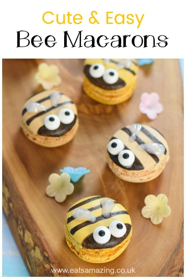 Cute bee macarons - decorate ready-made macarons for a quick and easy fun party food idea for kids #EatsAmazing #partyfood #funfood #foodart #kidsfood #bees #edibleart #macarons #cutefood #desserts #easyrecipe