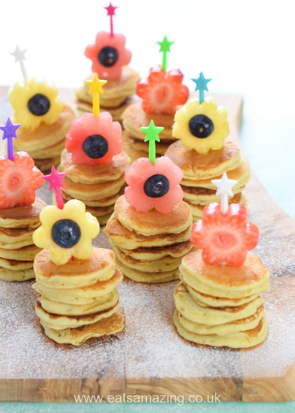 Cute fruit flower pancake stackers recipe - fun springtime or Easter breakfast idea for kids
