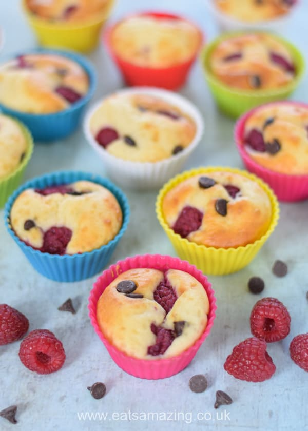 Delcious and easy yogurt pancake muffins recipe with raspberries and chocolate chips - fun make ahead breakfast idea for kids