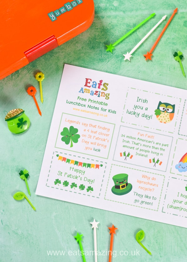 Dowload and print your FREE St Patricks Day themed lunchbox notes for kids - these fun notes make cute lunch time surprises easy - just print and cut