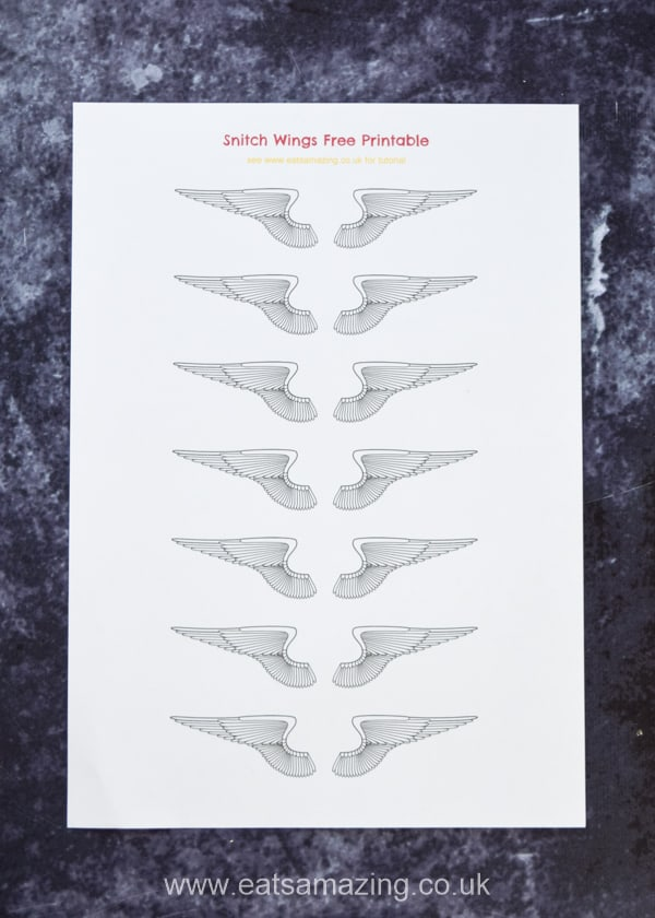 Dowload your FREE snitch wings printable to make fun and easy edible snitches for Harry Potter themed party food
