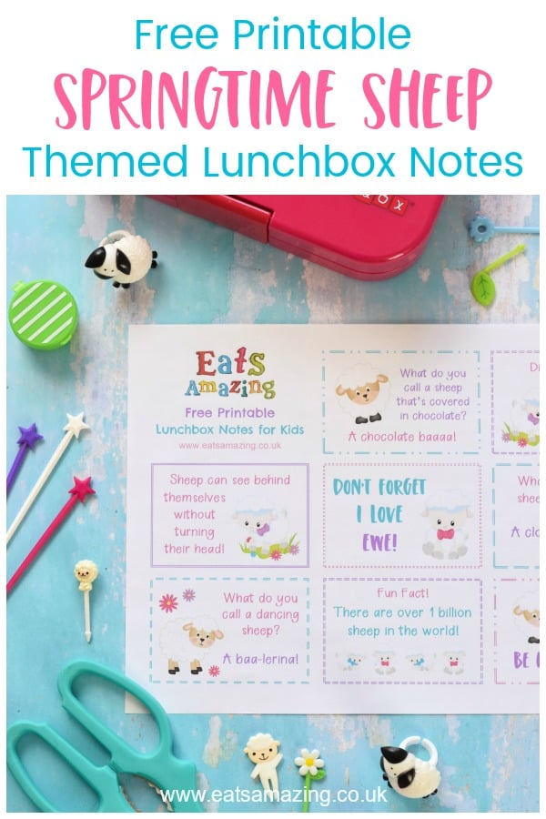 Download your FREE Springtime Sheep themed lunchbox notes for kids - with sheep jokes quotes and fun facts #EatsAmazing #Easter #lunchbox #lunchboxnotes #schoollunch #lunchnotes #kidsfood #funfood #bento #packedlunch #printable #freeprintable #jokes #funfacts #facts #easterfun