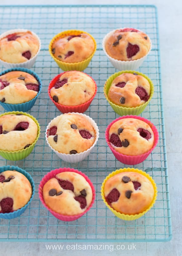 Easy Raspberry Choc Chip Pancake Muffins Recipe - Perfect for a quick make ahead breakfast for kids
