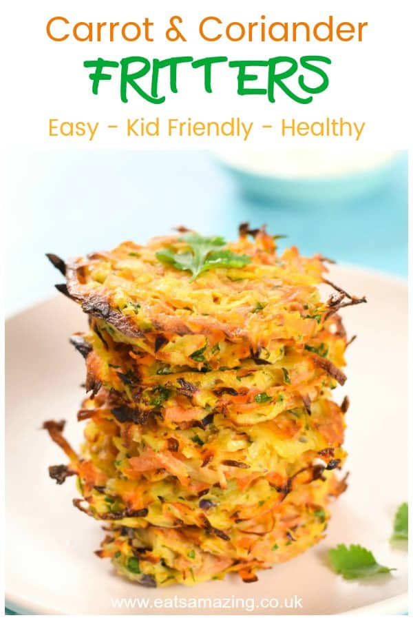 Easy carrot and coriander oven baked fritters recipe - great kid friendly recipe for fussy eaters #EatsAmazing #getyourkidstoeatanything #kidsfood #easyrecipe #hiddenveggies #babyledweaning #blw #fritters #carrots #healthykids