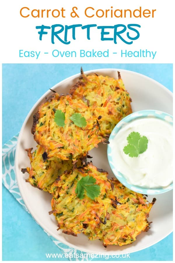 Easy carrot fritters recipe - these healthy fritters are oven baked and totally delicious - a great family friendly side dish or fun finger food for baby led weaning #EatsAmazing #getyourkidstoeatanything #kidsfood #easyrecipe #hiddenveggies #babyledweaning #blw #fritters #carrots #healthykids