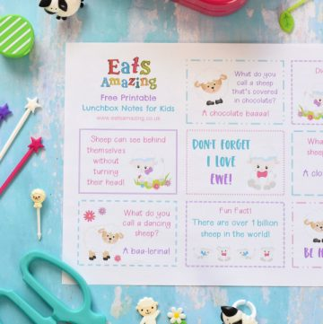 FREE Printable fun Easter lunchbox notes with cute sheep themed jokes quotes and fun facts for kids