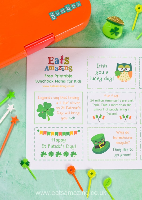 FREE St Patricks Day themed lunchbox notes for kids - download and print a set for a fun school lunch surprise your kids will love