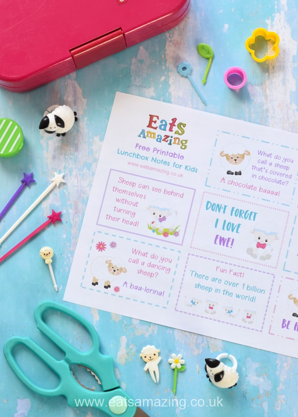 FREE cute sheep themed printable lunchbox notes for kids - perfect for a fun school lunch surprise