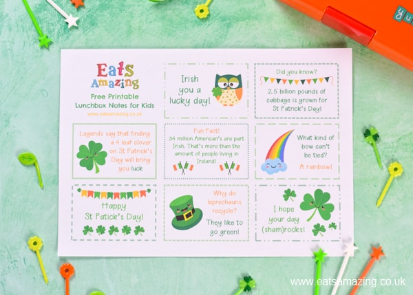 FREE lunch notes for kids - this printble set has a fun ST PATRICKS DAY theme for easy packed lunch fun your kids will love