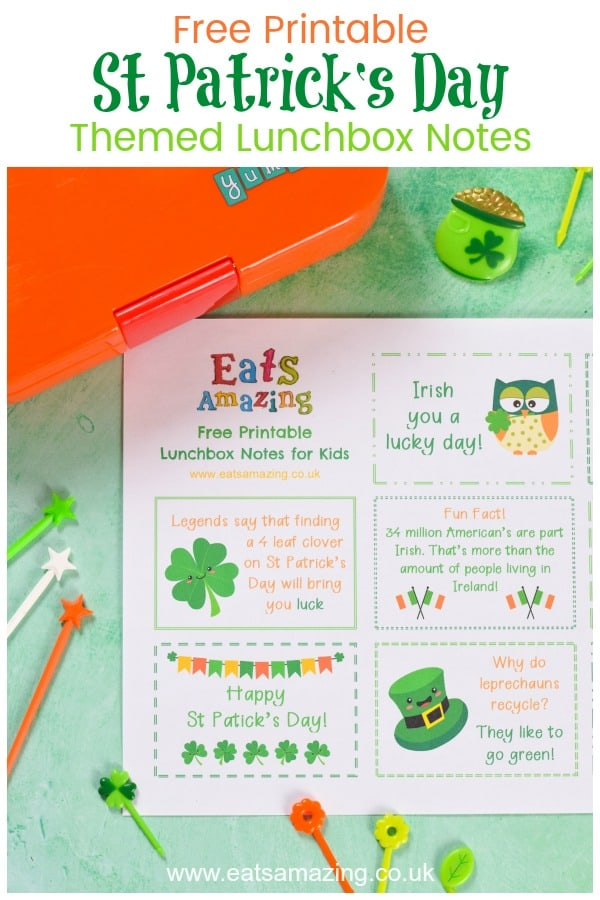 FREE printable St Patricks Day Lunch Notes for Kids - fun Irish themed jokes fun facts and messages for a cute lunch box surprise on St Patrick's Day #EatsAmazing #stpatricksday #stpaddysday #lunchbox #lunchboxnotes #schoollunch #lunchnotes #kidsfood #funfood #bento #packedlunch #printable #freeprintable #jokes #funfacts