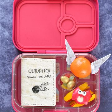 Fun Harry Potter bento lunch for kids - including edible book sandwich cheese owl and golden snitch orange - with full video tutorial