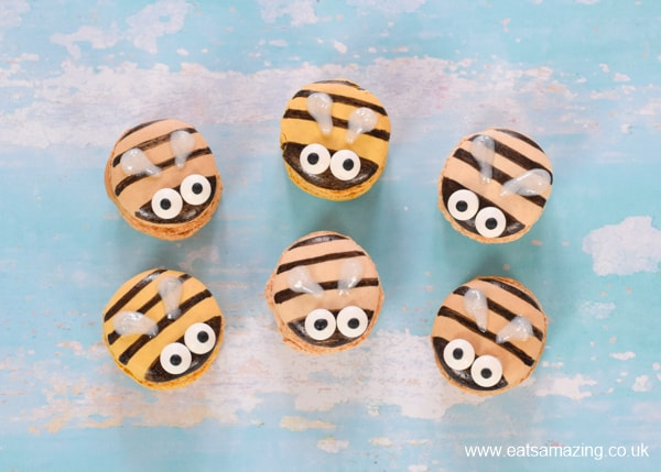 Fun and easy bee party food idea - decorate macarons to turn them into bees