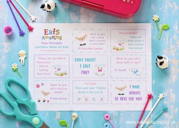 Fun springtime sheep themed lunchbox notes for kids - free printable to download for fun Easter lunches