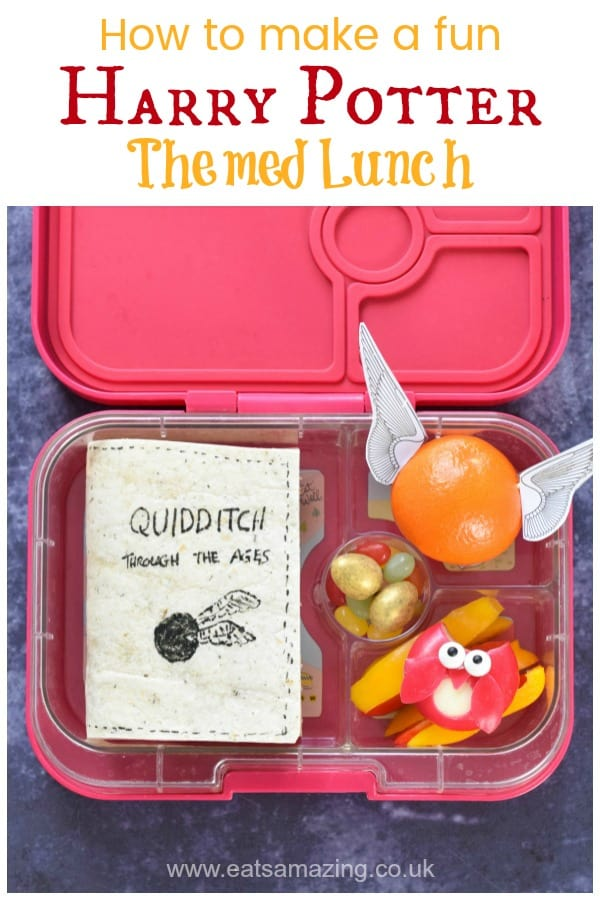How to make a fun Harry Potter themed lunch complete with edible book sandwich cheese owl and golden snitch orange - with video tutorial #EatsAmazing #harrypotter #kidslunch #bento #foodart #edibleart #funfood #schoollunch #lunchboxideas #worldbookday #yumbox