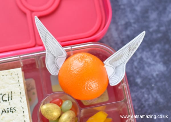 How to make a fun Harry Potter themed lunch - with video tutorial - golden snitch orange close up