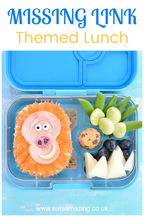 How to make a fun Missing Link movie themed lunch - fun food for kids with video tutorial #EatsAmazing #MissingLink #foodart #kidslunch #kidsfood #funfood #bento #bentoboxlunch #yumbox #healthykids #lunchideas #edibleart